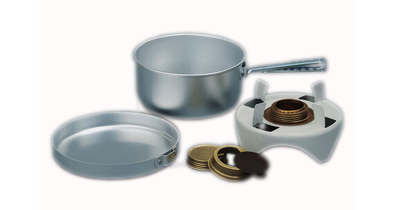 Trangia Spiritusbrander met onderstel, Pan en kookpan